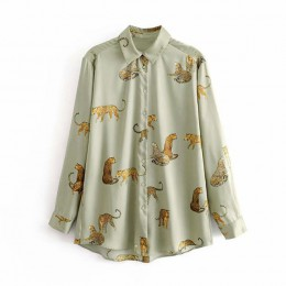 Aachoae Leopard stylowa koszula kobiety skręcić w dół kołnierz moda biurowa bluzka damska z długim rękawem Plus rozmiar topy dam