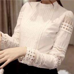 Klasyczna koronkowa szyfonowa bluzka damska młodzieżowa kobieca biała elegancka z ozdobną koronką