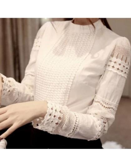 2019 koronkowa szyfonowa bluzka damska koszula Plus rozmiar Casual ladies z długim rękawem damskie topy i bluzki S-5XL hak kwiat