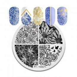 PICT YOU Halloween płytki do stemplowania paznokci kwiaty dyni zwierząt tropikalny wzór geometryczny paznokci artystyczny obraz