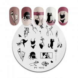 PICT You Round Leaves płytka do stemplowania tatuaż modne dziewczęce ze stalowymi ćwiekami obrazek szablony do stempli szablony