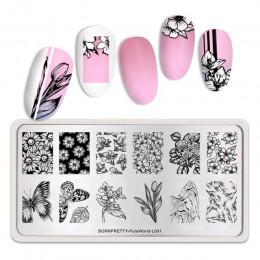BORN PRETTY prostokąt paznokci tłoczenia płyty kwiat motyl mieszane wzór Nail Art obraz projekt narzędzia czysty świata L001