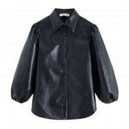 Kobiety w stylu vintage PU skóra latarnia rękaw czarny bluzki koszule damskie chi pojedyncze łuszcz casual blusas retro koszulka