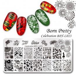 BORN PRETTY 1PC boże narodzenie szablon tłoczenia paznokci kwiat zwierząt geometria miłość walentynki do dekoracji paznokci (ksz