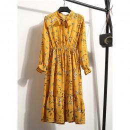 Kobiety dorywczo jesień sukienka pani koreański styl Vintage, w kwiaty drukowane szyfonowa sukienka z koszulą zima z długim ręka