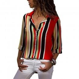 2019 nowy modny nadruk kobiety bluzki z długim rękawem skręcić w dół kołnierz szyfonowa bluzka koszula Casual topy Plus rozmiar