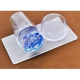 Unikalny nowy projekt czysty przezroczysty galaretki silikonowy Nail Art Stamper skrobak z Cap przezroczysty 2.8cm Nail Stamp st