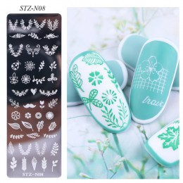 1pc kwiat geometria paznokci tłoczenia płyty zwierząt liście DIY obraz wzornik dla lakier do paznokci drukowanie szablony narzęd