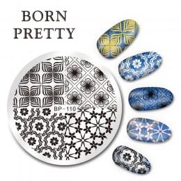 Płytki do stempli BORN PRETTY boże narodzenie kwiaty ze ze stalowymi ćwiekami szablon artystyczny do paznokci szablon stempla ak