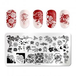 PICT YOU prostokąt szablon do stemplowania paznokci róża seria kwiatowa stal nierdzewna ze stalowymi ćwiekami wzory pieczątek J0