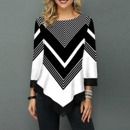 Kwiatowa drukowana damska koszula asymetryczna Hem jesienna bluzka koszula dla kobiety kwiat koszule z nadrukiem O szyi Blusas m