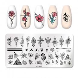 PICT You płytki do tłoczenia paznokci walentynki tabliczka dekoracyjna do paznokci szablon do tłoczenia kwiatów geometria szablo