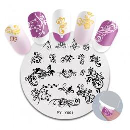 PICT YOU płytka do stemplowania paznokci French Tips drukowany design stempel z obrazkiem stal nierdzewna okrągły kształt szablo