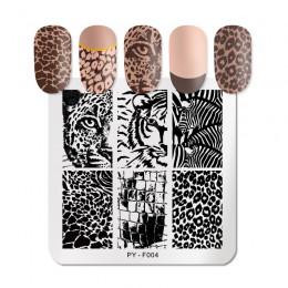 PICT YOU Square Leopard płytki do stemplowania paznokci wzory zwierzęce stal nierdzewna ze stalowymi ćwiekami artystyczny design