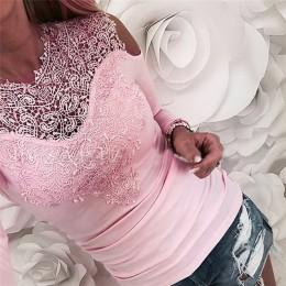 Gorący sprzedawanie koronkowe bluzki kobiety Off ramię koszula seksowna koronkowa koszula z długim rękawem Slim letnie uliczne b