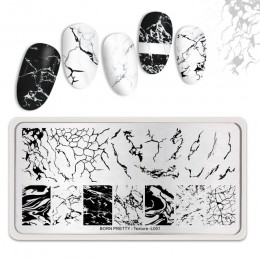 BORN PRETTY prostokątne płytki do tłoczenia paznokci marmur tekstury tusz do paznokci artystyczny obraz tekstury motyw L001