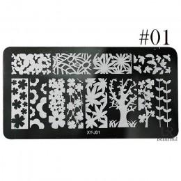 1 sztuk wzory paznokci koronki tłoczenia płytki z obrazkami ze stalowymi ćwiekami Art szablon polski malowanie Manicure wzornik