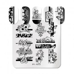 PICT You Square płytki do tłoczenia paznokci kwiaty idea warstwa pieczątek do paznokci wzornik DIY szablon do paznokci narzędzia