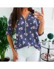 Wiosenne bluzki w dużych rozmiarach damskie 2020 Casual V Neck Shirt damskie zamek błyskawiczny z przodu bluzka luźny z kwiatowy