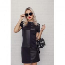 Kobiety w stylu Vintage skóra Patchwork elegancka sukienka biurowa z długim rękawem O szyi jednokolorowa na co dzień Mini sukien