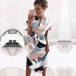 Aachoae 2020 kobiety Midi sukienek nadruk geometryczny letnia plażowa sukienka boho luźna bluzka nietoperz sukienka Vestidos Plu