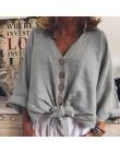 2020 letnia modna bluzka ZANZEA damska koszulka z długim rękawem z lnu i bawełny w stylu casual topy Sexy V Neck guziki w dół wę