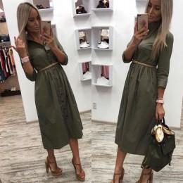 Kobiety Casual Sashes Line Party Dress damska koszula na guziki OL stylowa koszula sukienka 2019 letnia solidna sukienka do kola