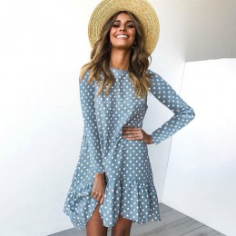 damskie sukienka moda grochy szyfonowa sukienka z długim rękawem O szyi wzburzyć kobieta dorywczo żółta sukienka wiosenna 2020 p