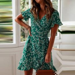 Damskie sukienki letnie 2020 Sexy V Neck kwiatowy Print Boho Beach Dress wzburzyć krótki rękaw linia Mini sukienka Wrap letnia s