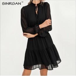 SINRGAN czarne zasznurowane drążą mini sukienki damskie vestidos z długim rękawem w pasie sexy party sukienki świąteczne letnia