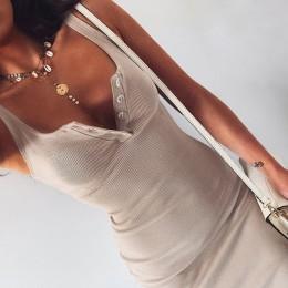 WannaThis do kolan sukienka z dzianiny elastyczna bez rękawów Bodycon eleganckie kobiety 2019 lato Sexy dekolt przycisk Party wą