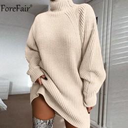 Forefair golf długi sweter z rękawem sukienka kobiety jesienno-zimowa luźna tunika z dzianiny dorywczo różowe szare ubrania suki