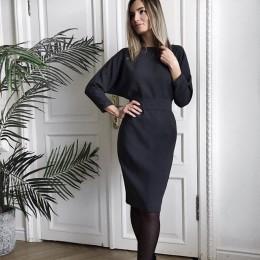 Sexy v Neck jesień z długim rękawem kobiety sukienka panie skrzydła przycisk Casual sukienka biurowa 2019 nowych moda kobiet Mid