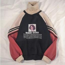 2019 bluza z kapturem damska zimowe bluzki typu oversize Fashion Pattern bluza z nadrukiem jesień z golfem odzież wierzchnia cie