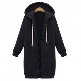 Wipalo 2020 jesienno-zimowa Casual kobiety długie bluzy bluza płaszcz Zip Up kurtka z kapturem Plus rozmiar aksamitna odzież wie