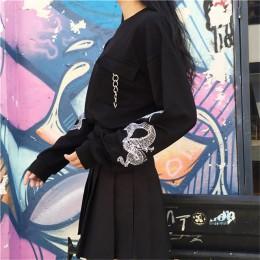Bluza damska z czarnej haftowanej bluzki z długim rękawem Preppy O-neck swetry topy kobiety 2020 moda wiosna odzież damska
