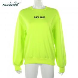 SUCHCUTE bluzy damskie Neon zielony dorywczo schudnąć bluza z kapturem Top Sudadera Mujer Kpop O-Neck jesień 2019 kobieta gotyck