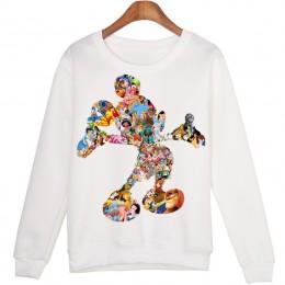 Harajuku Cartoon komiks Mickey drukowanie Joker Trend sweter bluza białe miłośników Kawaii kobiety Casual bluzy z długim rękawem