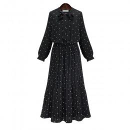 [EAM] 2020 nowa wiosna wokół szyi z długim rękawem solidna czarna szyfonowa Dot luźne duży rozmiar sukni kobiet mody fala JA2360