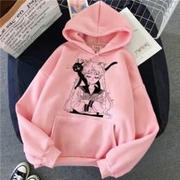Różowa bluza luźna długa zwiewna z długim rękawem zabudowana pod szyję z regulowanym kapturem modna