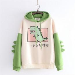 Wesołych ładne kobiety dinozaur bluzy z kapturem ciepłe bluzy z kapturem z polaru swetry z rogami Harajuku dla dziewczyn, z kapt