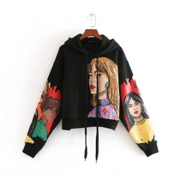 Tangada kobiety charater drukuj czarne bluzy oversize z długim rękawem O neck luźne swetry casual bluzki damskie CE209