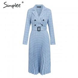 Simplee Vintage plisowana sukienka w kratę damska elegancka biurowa, damska marynarka sukienki z długim rękawem kobieca jesienna