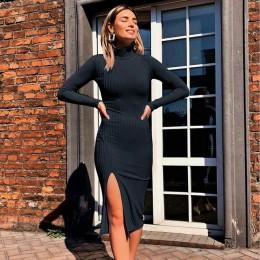 WannaThis Sexy długość do kolan sukienki na przyjęcie bawełniany prążkowany sweter z dzianiny z golfem stałe podział z długim rę