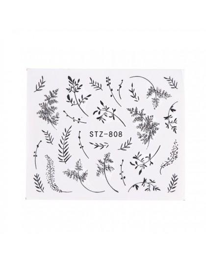 1pc Woda Paznokci Naklejki Kalkomania Czarne Kwiaty Liść Transferu Paznokci Dekoracje Artystyczne Suwak Manicure Znak Wodny Foli Faga Pl