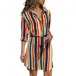Koszula z długim rękawem sukienka 2020 lato Boho sukienki plażowe damskie w stylu casual, w paski z nadrukiem A-line mini imprez