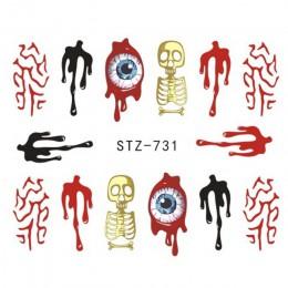 1x czaszka kości paznokci naklejki wody samoprzylepne Halloween suwak tatuaż z dużym uchem Horror naklejki dla diy wystrój Wrap