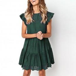 Hollow Out Ruched-line mini sukienka kobieta marszczony rękaw sukienka plażowa kobieta podstawowe sukienki z okrągłym dekoltem l