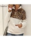 Nadafair wzór lamparta, patchworkowa Plus Size puszysta bluza damska Zip polarowa na co dzień obszerna bluza z kapturem sweter z