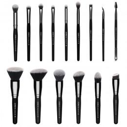 Zoreya marka 15 sztuk zestaw czarnych pędzli do makijażu oczu cień do powiek w proszku fundacja pędzel do makijażu najlepsze mie